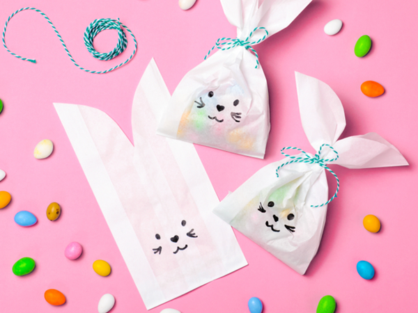 Bunny Paper Treat Bags - Easy Paper Crafts for Kids