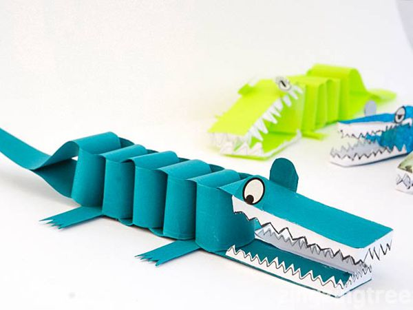 Paper Crocodile Craft - Easy Paper Crafts for Kids