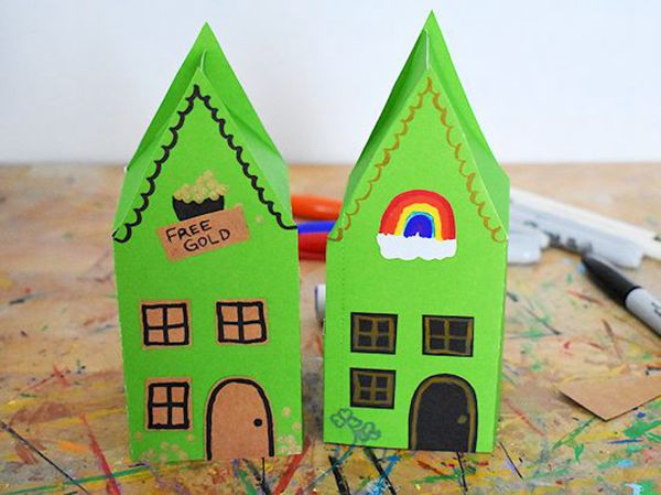 Paper Leprechaun House Craft - Easy Paper Crafts for Kids