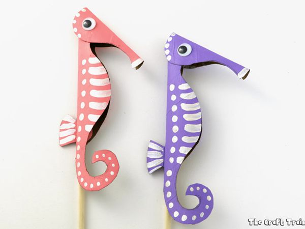 Paper Roll Seahorse Puppets - Easy Paper Crafts for Kids