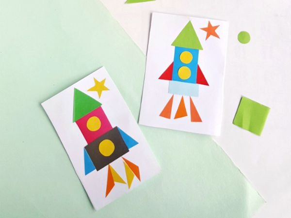 Shape Space Rocket - Easy Paper Crafts for Kids