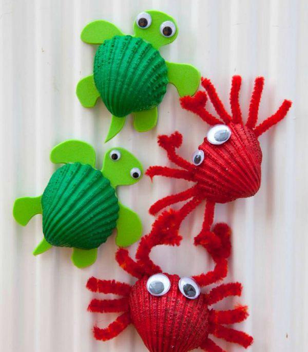 Crab Fridge Magnet - Easy Seashell Crafts for Kids