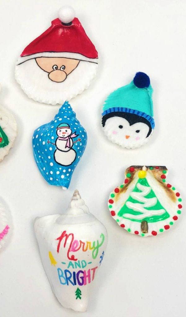 Painted Seashell Christmas Ornaments - Easy Seashell Crafts for Kids