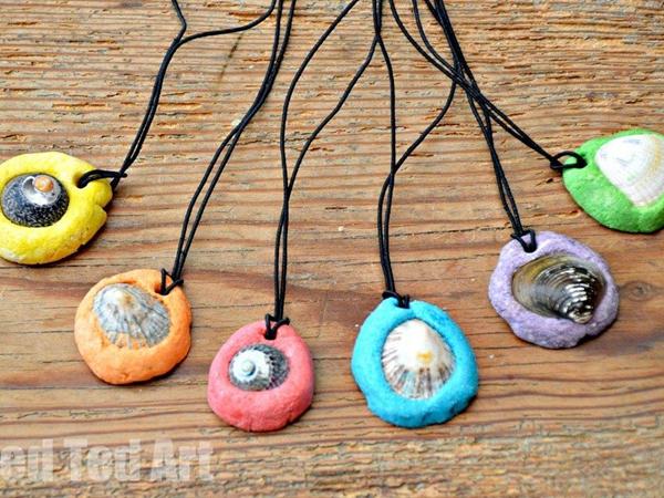 Salt Dough Shell Pendant - Easy Seashell Crafts for Kids