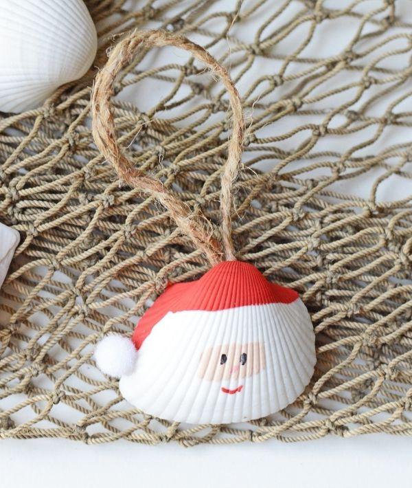 Santa Claus Seashell Christmas Ornament - Easy Seashell Crafts for Kids