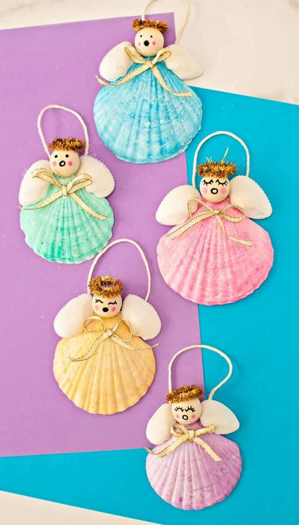 Seashell Angel Christmas Ornaments - Easy Seashell Crafts for Kids