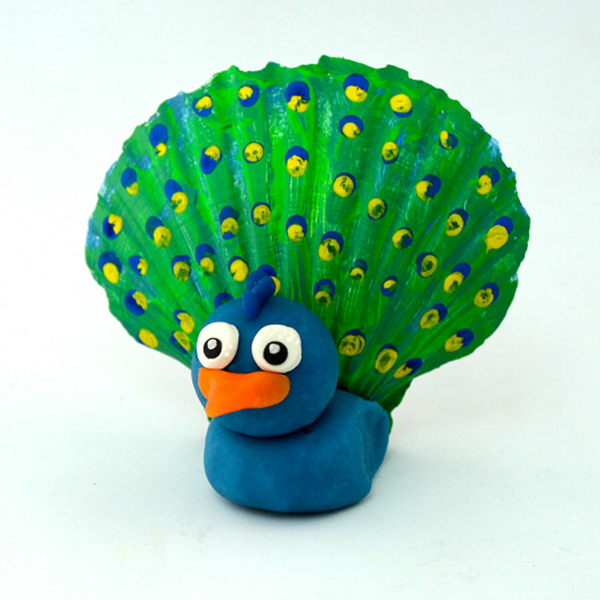 Seashell Peacock - Easy Seashell Crafts for Kids