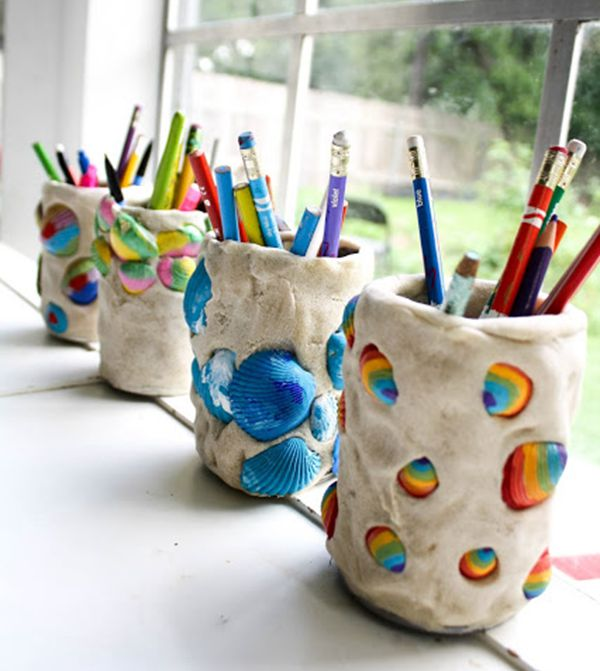 Seashell Pencil Holders - Easy Seashell Crafts for Kids