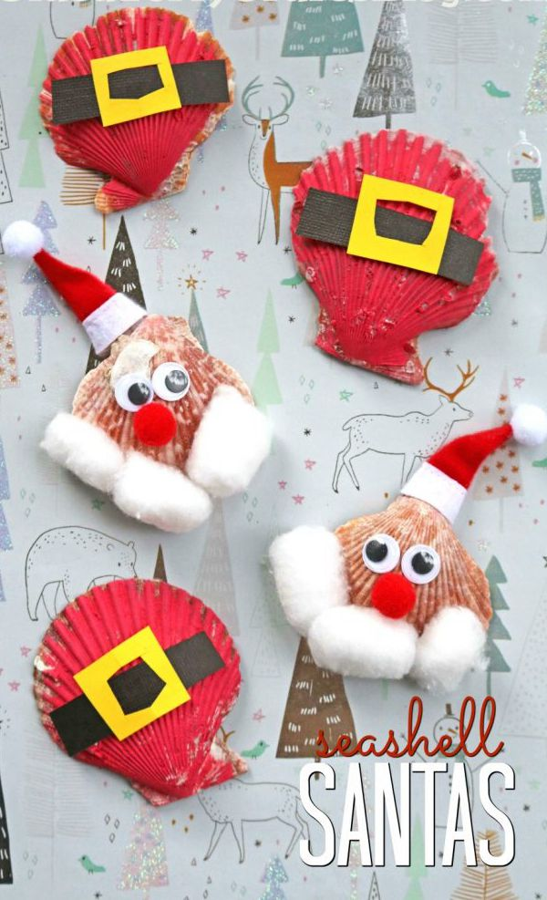 Seashell Santa Claus - Easy Seashell Crafts for Kids