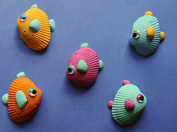 Tropical Seashell Fish - Easy Seashell Crafts for Kids
