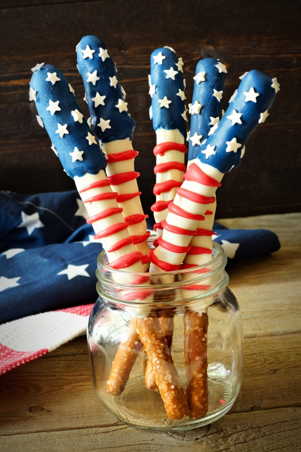 American Flag Pretzel Rods - Snack Recipes for Kids