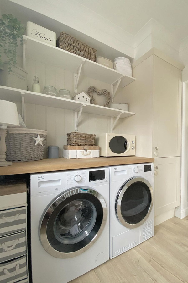 Basic White Laundry Shelves - Clever Laundry Room Shelving Ideas fo Small Space