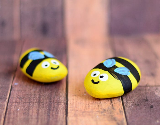 Bee Painted Rocks - Easy Popsicle Crafts for Kids