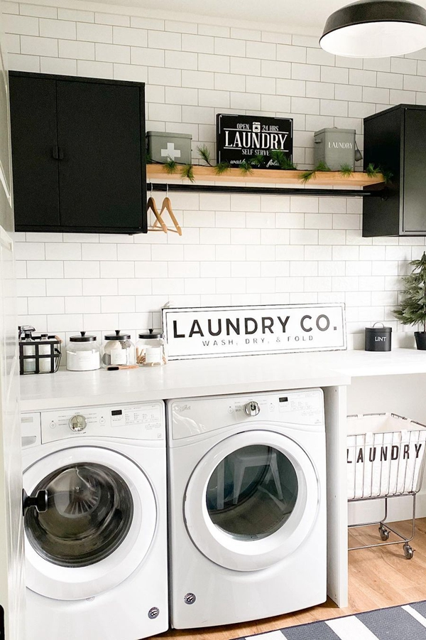 Black Tension Rod with Wooden Laundry Shelf - Clever Laundry Room Shelving Ideas fo Small Space