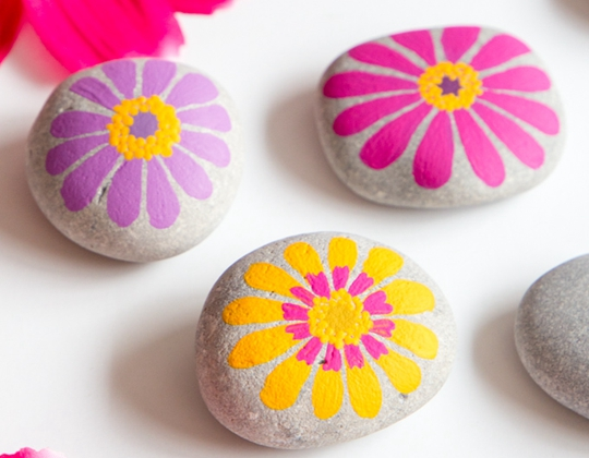 Colorful and Cheerful Flower Painted Rocks - Easy Popsicle Crafts for Kids