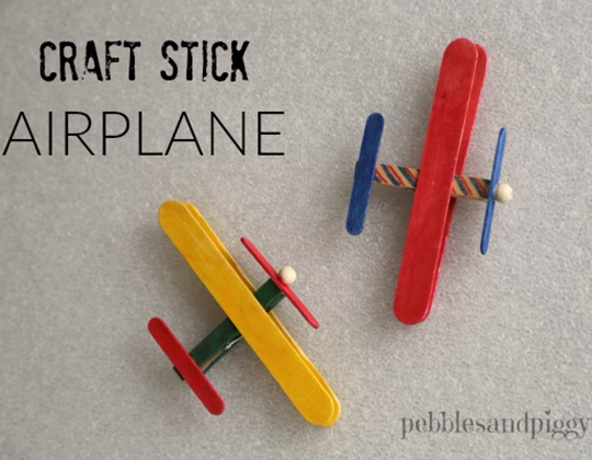 Craft Stick Airplane - Easy Popsicle Crafts for Kids