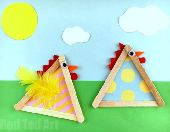 Craft Stick Chicks - Easy Popsicle Crafts for Kids