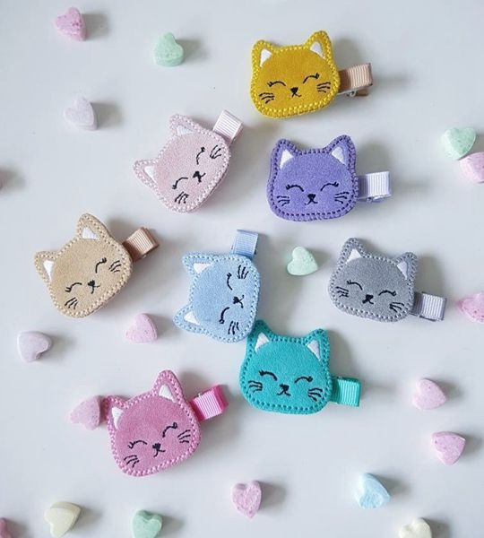 Cute Cat Pastel Handmade Hair Clip - Cute Hair Clip for Kids