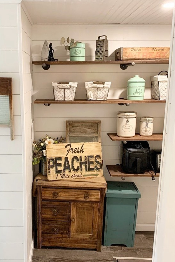 Farmhouse Laundry Shelves - Clever Laundry Room Shelving Ideas fo Small Space