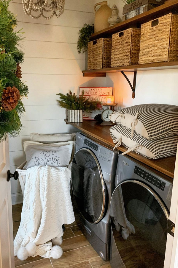 Festive Laundry Room Shelves - Clever Laundry Room Shelving Ideas fo Small Space