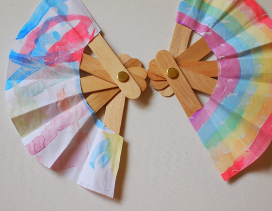 Folding Popsicle Stick Fans - Easy Popsicle Crafts for Kids