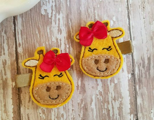 Giraffe Felt Hair Clip - Cute Hair Clip for Kids