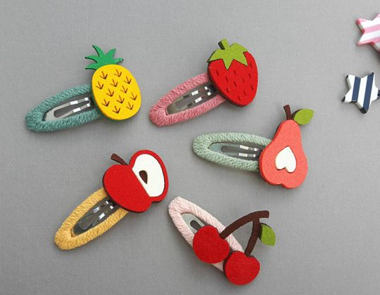 Handmade Felt Fruit Hair Clips - Cute Hair Clip for Kids