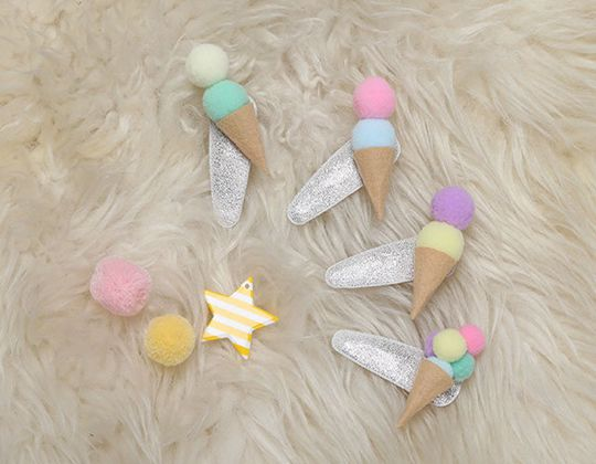 Ice Cream Felt Hair Clip - Cute Hair Clip for Kids