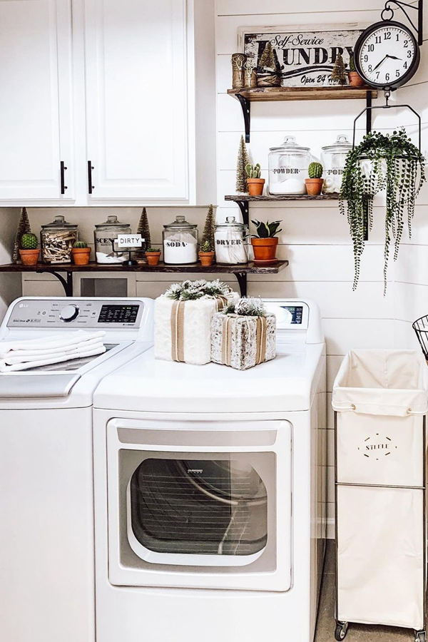 Industrial Laundry Shelves - Clever Laundry Room Shelving Ideas fo Small Space