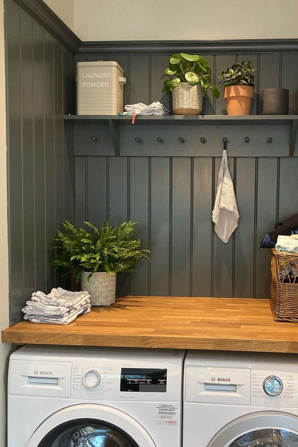 Laundry Room Shelves with Pegs - Clever Laundry Room Shelving Ideas fo Small Space