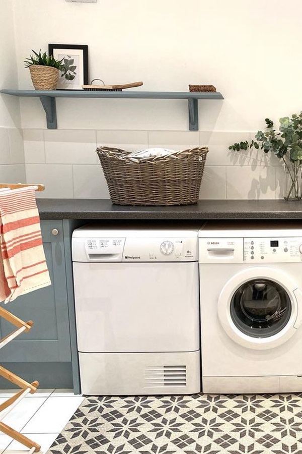 Laundry Shelves with Matching Cabinets - Clever Laundry Room Shelving Ideas fo Small Space