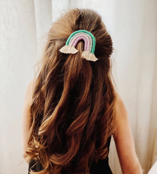 Macrame Rainbow Hair Clip - Cute Hair Clip for Kids