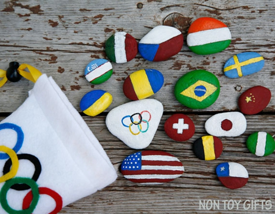 Olympic Flag Rocks Craft - Easy Popsicle Crafts for Kids