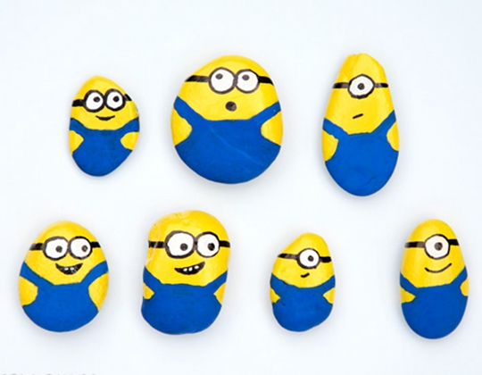 Painted Minion Rocks - Easy Popsicle Crafts for Kids