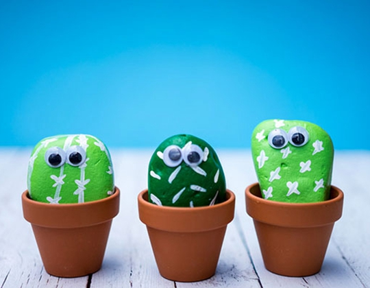 Pet Cactus Rocks - Easy Popsicle Crafts for Kids