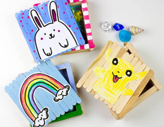 Popsicle Stick Boxes for Easter and St. Patrick's Day - Easy Popsicle Crafts for Kids
