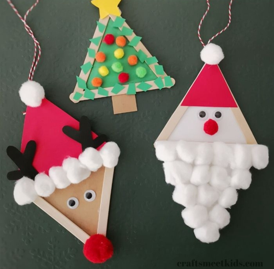 Popsicle Stick Christmas Ornament - Easy Popsicle Crafts for Kids