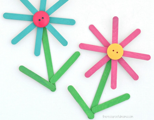Popsicle Stick Flower Craft - Easy Popsicle Crafts for Kids