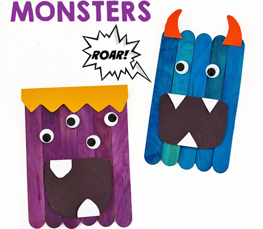 Popsicle Stick Monsters - Easy Popsicle Crafts for Kids