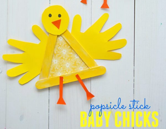 Popsicle Stick Painted Chick - Easy Popsicle Crafts for Kids