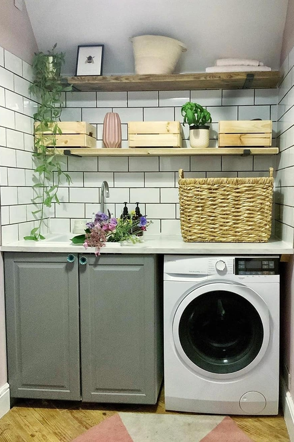 Reclaimed Wooden Laundry Shelves - Clever Laundry Room Shelving Ideas fo Small Space