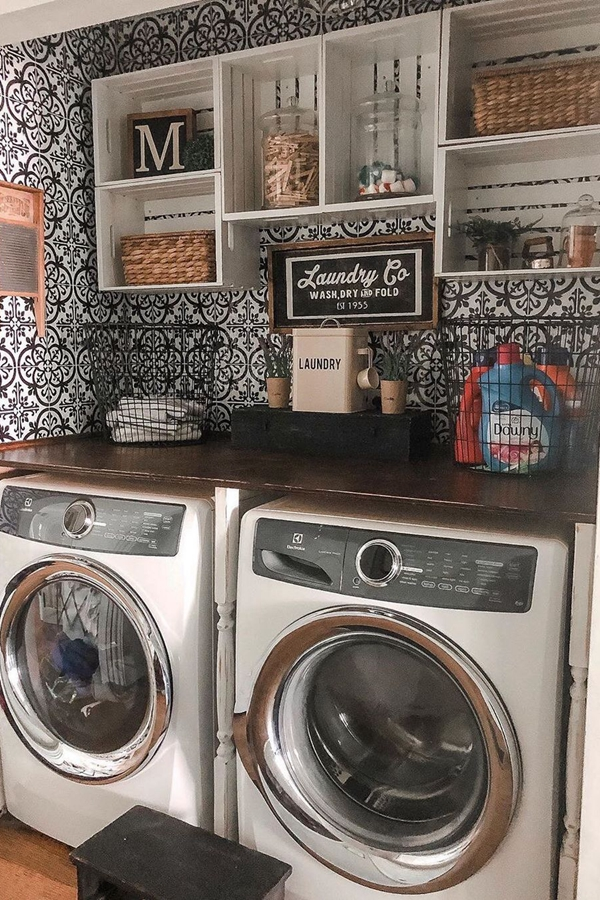 Repurposed Crate Laundry Shelves - Clever Laundry Room Shelving Ideas fo Small Space