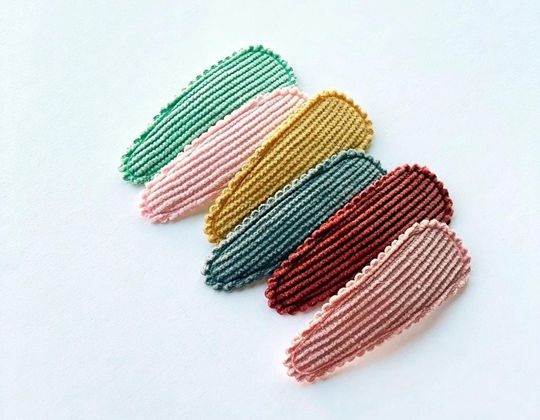 Ribbed Corduroy Snap Clips - Cute Hair Clip for Kids
