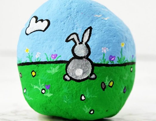 Rock Painting Bunny Rabbit - Easy Popsicle Crafts for Kids