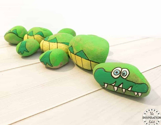 Rock Stone Crocodile - Easy Popsicle Crafts for Kids