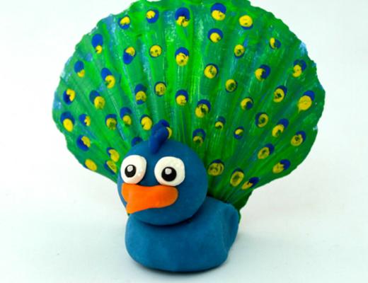 Seashell Peacock Easy Seashell Crafts for Kids