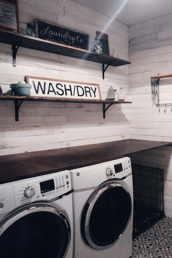 Shiplap Laundry Shelves - Clever Laundry Room Shelving Ideas fo Small Space