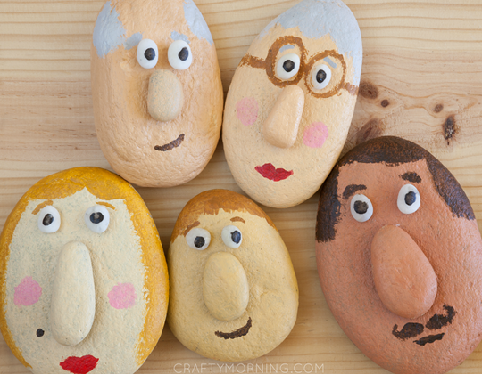 Silly Stone Faces - Easy Popsicle Crafts for Kids