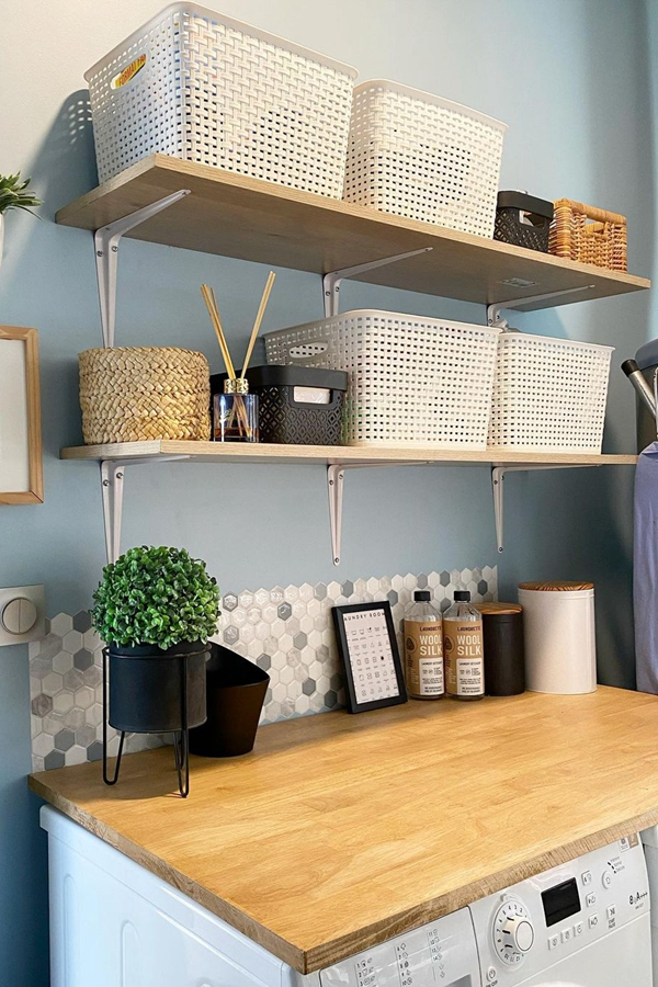 Simple Wooden Laundry Shelves - Clever Laundry Room Shelving Ideas fo Small Space