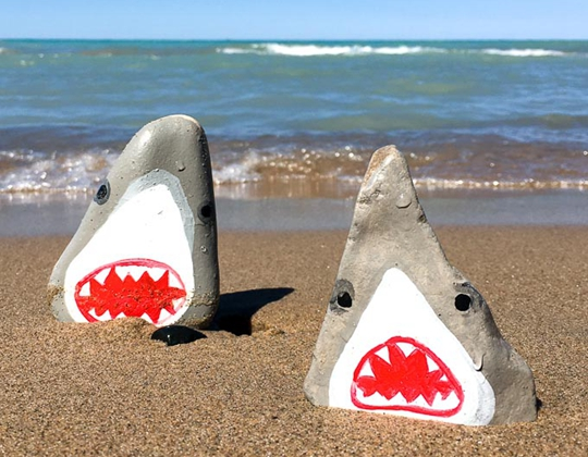 Stone-Cold Shark Painted Rocks - Easy Popsicle Crafts for Kids
